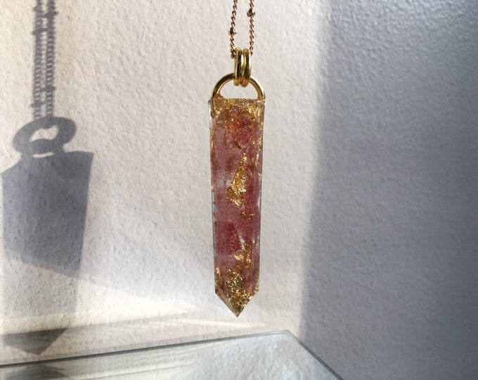 Strawberry Quartz & Gold Leaf Orgone Amulet - Crystal Point Pendant - Long Gold Chain - Wooden Jewelry Box Included