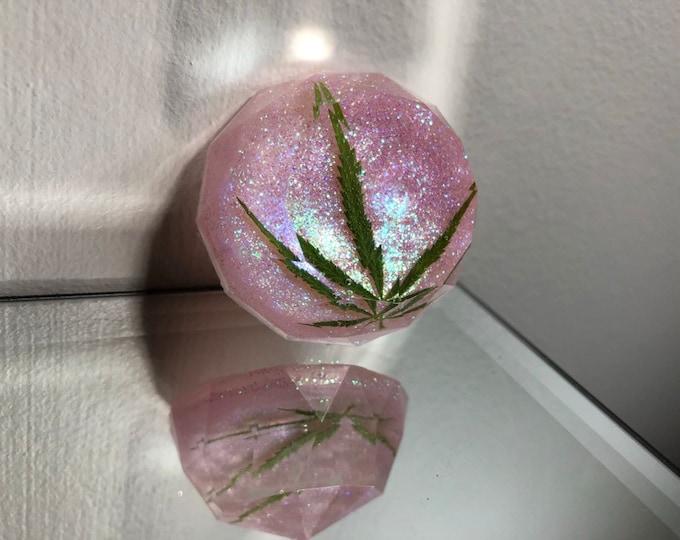 Weed Leaf Pink Glitter Gem Crystal