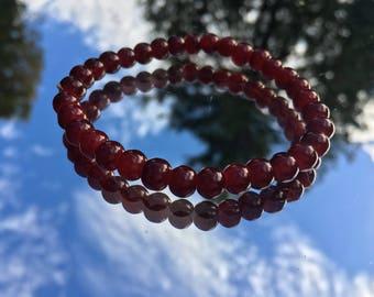 Deep Bordeaux Red Glass Hand Beaded Bracelet