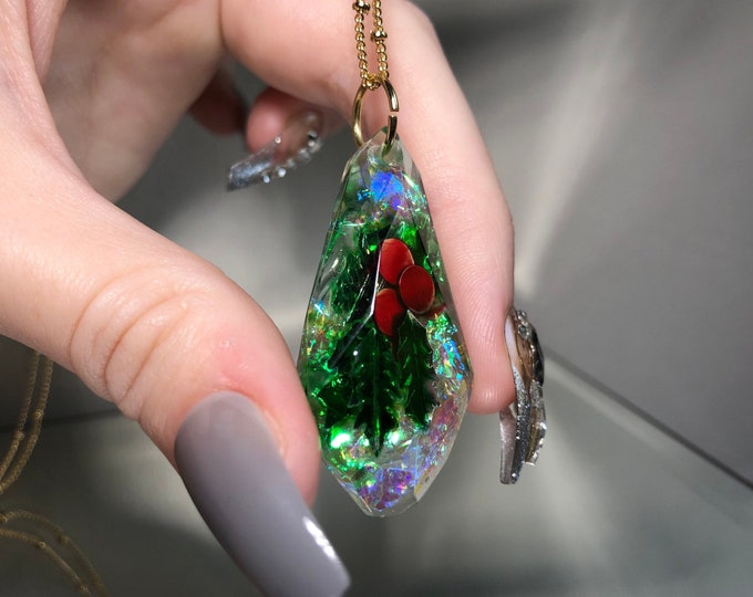 Holly Glitter Gem Crystal Pendant Necklace - Long Adjustable Chain - Gift Box Included