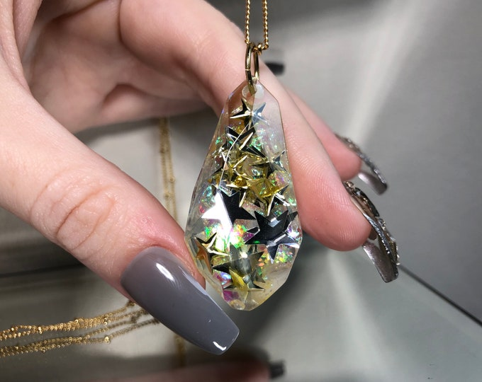 Star Glitter Gem Crystal Pendant Necklace - Long Adjustable Chain - Gift Box Included
