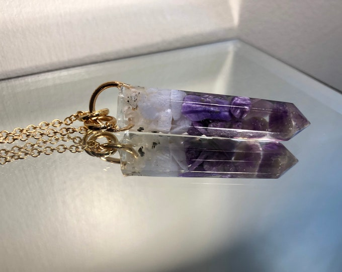 Amethyst, Charoite, Blue Lace Agate, & Rainbow Moonstone Crystal Point Pendant Necklace - Gemstone Amulet - Long Chain - Gift Box Included