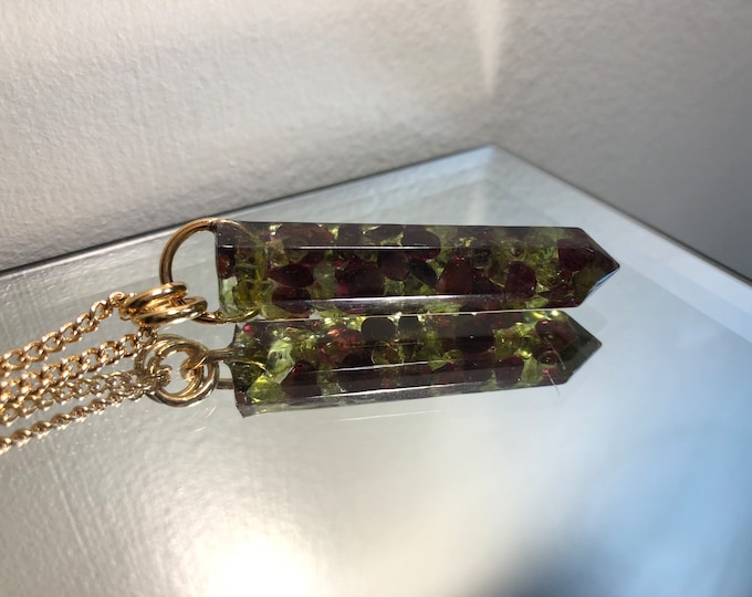 Garnet and Peridot Crystal Point Pendant Necklace - Gemstone Amulet - Long Gold Chain - Gift Box Included