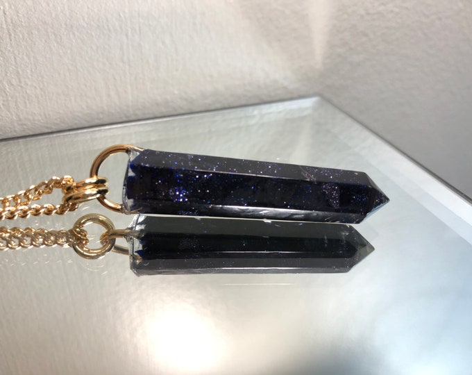 Blue Goldstone Crystal Point Pendant Necklace - Long Gold Chain - Gift Box Included