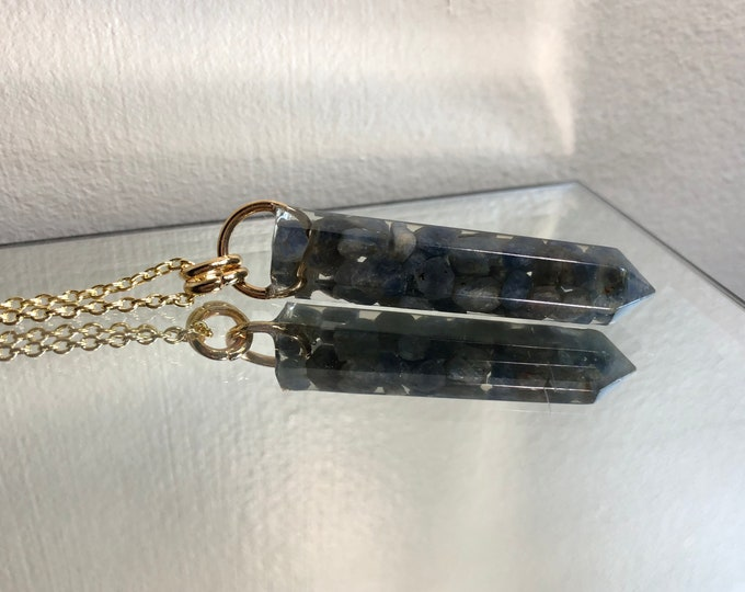Sapphire Crystal Point Pendant Necklace - Gemstone Amulet - Long Gold Chain - Gift Box Included