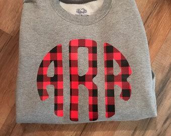 85e3122ad Custom monogram buffalo plaid sweatshirt | Etsy