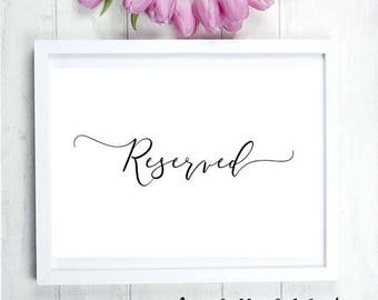 NEW - Instant Printables : Reserved Sign - For Wedding / Engagement  Black White