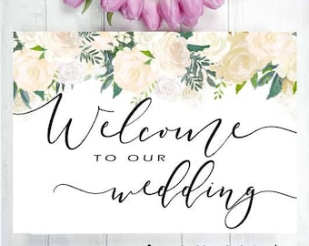 NEW - Welcome to our Wedding - Instant Printables : For Wedding / Engagement Pink and White Roses