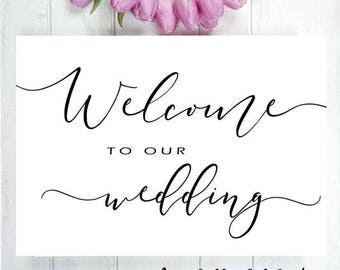 NEW - Welcome to our Wedding - Instant Printables : For Wedding / Engagement Black and White
