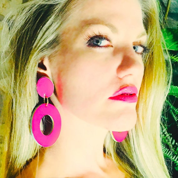 Feather Leather Earrings in Hot Pink Oval