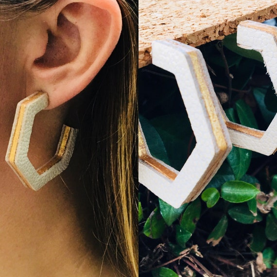 Hexagon Hoops in White
