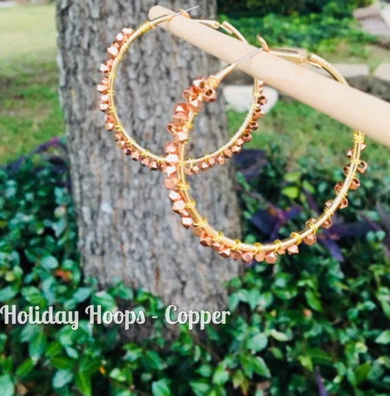 Large Copper Hoop. Beaded Hoop. Copper Beaded Hoop. Large Metallic Hoop Earring. Valentine Gift For Girlfriend. Birthday Gift for Girl