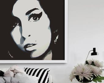 """wall art, 39"""" acrylic painting, portrait painting,  black and white painting, modern painting, pop art, art deco, big size painting, Amy"""