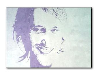"""wall art, 51"""" oil painting, dj, David Guetta, portrait painting, dj paintings, modern painting, pop art, art deco, big size painting, dj's"""