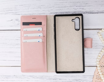 Samsung Galaxy Note 10 Premium Handmade Genuine Leather RFID Protection Cover Magic Wallet Case for Galaxy Note 10 Nude Pink