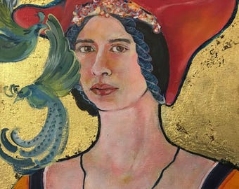 Icon Portrait with gold leaf