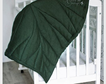 Linen playmat, MAXI, baby mat, baby rug, baby mat, nursery mat, leaf mat, baby leaf mat, linen mat, linen rug