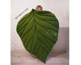 Playmat Leaf MAXI baby mat, baby rug, baby mat, nursery mat, baby leaf mat, linen mat, linen rug