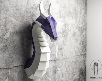 Paper Craft Dragon Head Papercraft Trophy Mask DIY 3D Origami SculptureLow Poly Lowpoly Eburgami