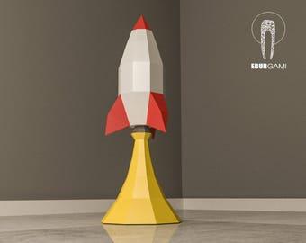 Rocket Papercraft 3D Paper Craft Launch Ship Low Poly Spaceship Desk Decor DIY Mask Printable PDF Template