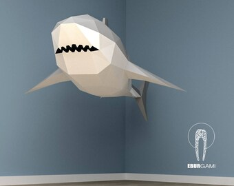 XXL Great White Shark Papercraft, 3D Papercraft   Build Your Own Low Poly  Paper Sculpture PDF Download DIY Gift, Wall Decor Home   Eburgami