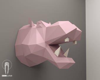 Hippo Pepercraft Head, Papercraft Trophy, Pdf Kit, 3D DIY Hippo Head, DIY Paper Sculpture, 3D Puzzle DIY, Digital Download, Hippopotamus