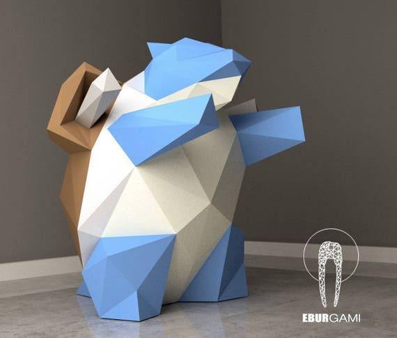 paper craft diy blastoise pokemon paper model art low etsy