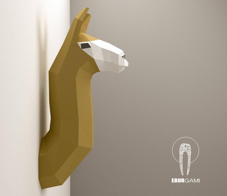 Paper Craft Llama Head Animal Papercraft Trophy Alpaca Etsy