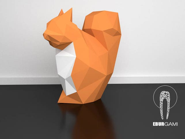 3d Papercraft Squirrel 3d Pdf Template Papercraft Animals Etsy