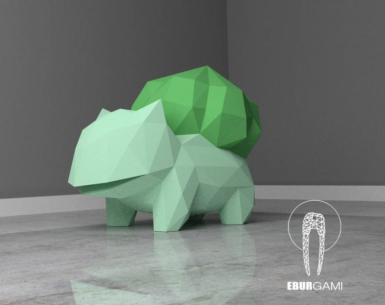 Paper craft DIY Bulbasaur - Pokemon - paper model Art, Low Poly DIY, DIY  Paper 3D Art, Diy Paper Statue, Papercrafting, Eburgami