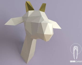DIY Low Poly Giraffe Trophy Head, DIY Giraffe Head Template, Eburgami , 3D Giraffe Head Model, 3D Papercraft, Gift, Wall Art Decor