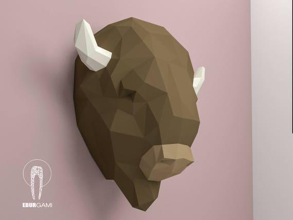 Papercraft Bull Pdf Kit 3D DIY Bull Head Low Poly Cattle Bull Pdf American Bison Pepercraft DIY Paper Sculpture 3D Puzzle DIY Taurus