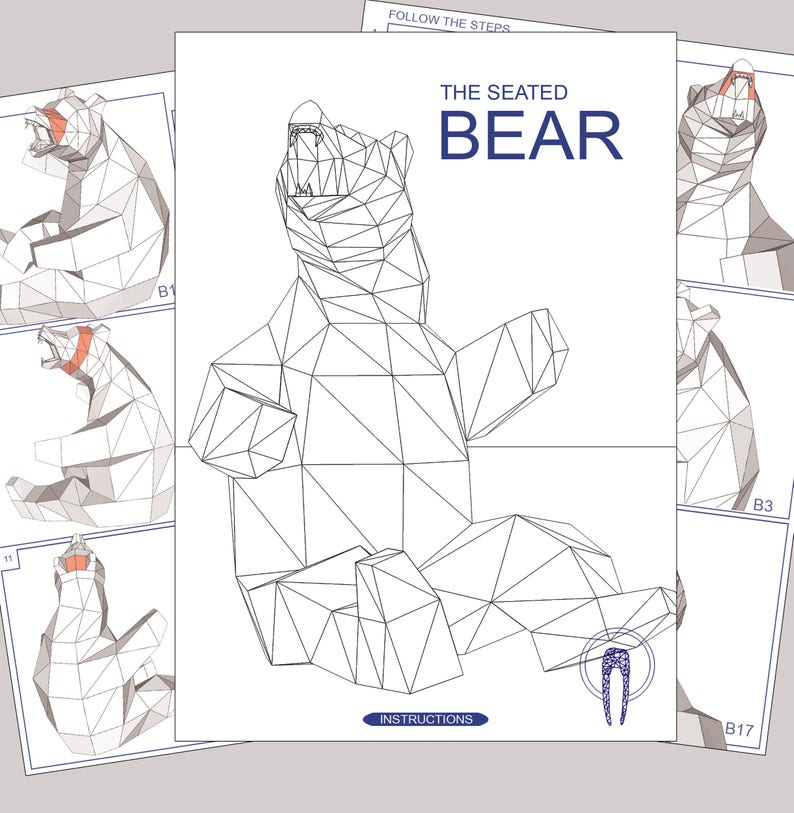 Astonishing Bear Papercraft Low Poly Xxl Bear Model Create Your Own 3D Etsy Wiring 101 Olytiaxxcnl