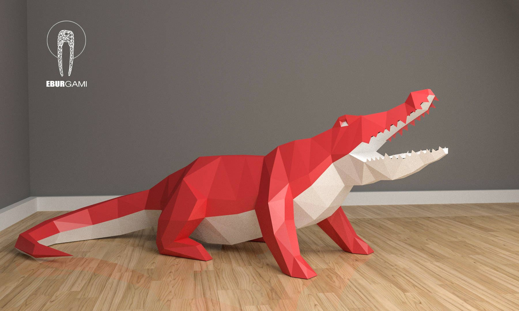 Low Poly Xxl Crocodile Model Create Your Own 3d Papercraft Etsy