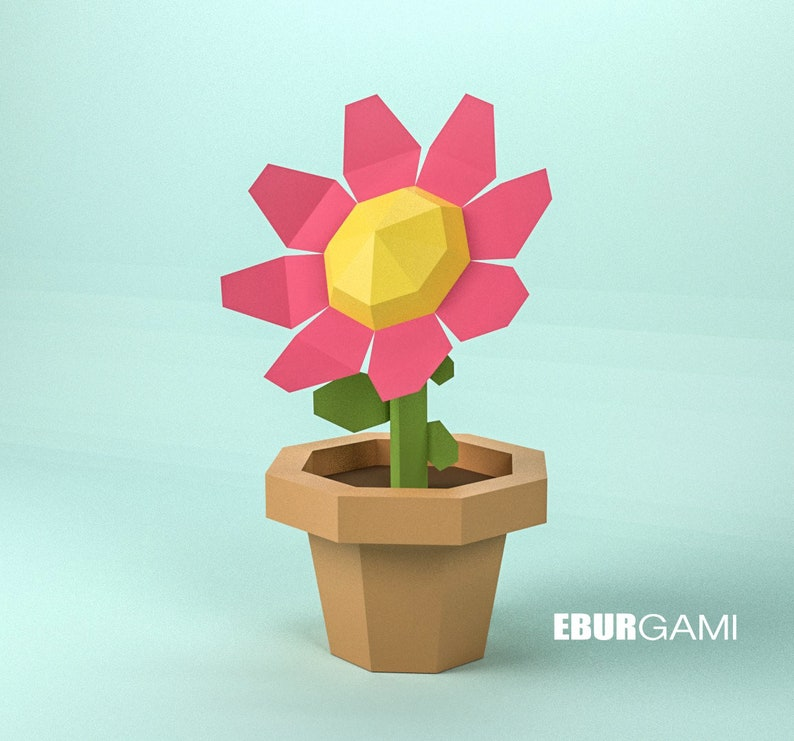 Papercraft Flower 3d Flower Build Your Own Diy Flower Low Poly Paper Flower Pdf Download Diy Gift Wall Decor For Home And Office
