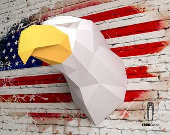Eagle Papercraft - 3D Papercraft -Instant Download - Build Your Own Low Poly Trophy Paper Sculpture - PDF Download - DIY gift - Wall Decor