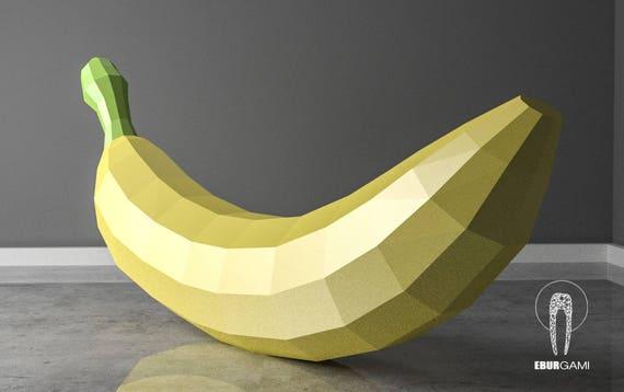 banana papercraft xxl fruit 3d fruit paper craft low poly etsy