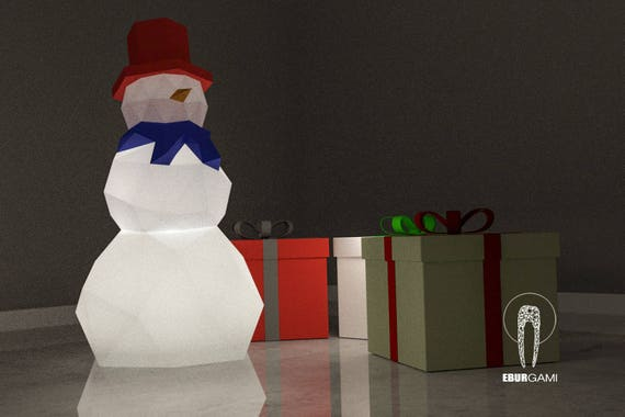 Low Poly Xxl Diy Snowman Papercraft Lamp Create Your Own 3d Etsy
