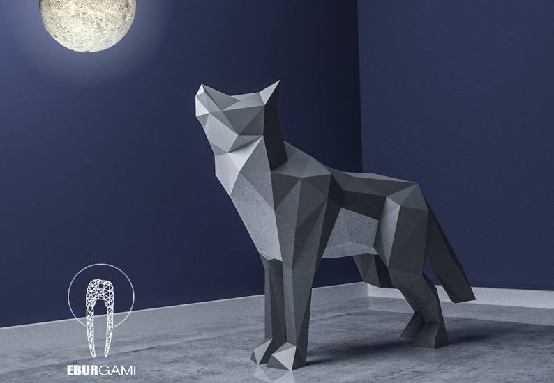 Papercraft Wolf XXL 3D Papercraft  Build Your Own Low Poly image 0