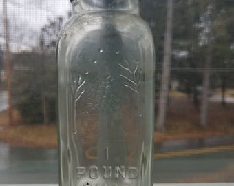 Vintage Honey Acres Glass Honey Jar