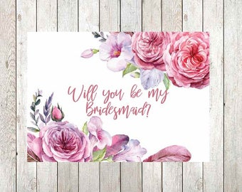Bridesmaid Proposal Card Download, will you be my bridesmaid card download, bridesmaid proposal gift, will you be my bridesmaid printable