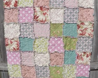 Rag Quilt - Cute and Scrappy in Pinks and Greens