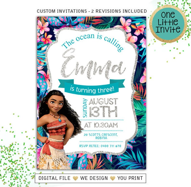 Moana Invitations Birthday Invites