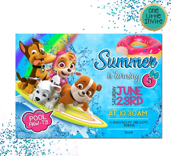 Paw Patrol Birthday Invitation Skye Pool Party Custom