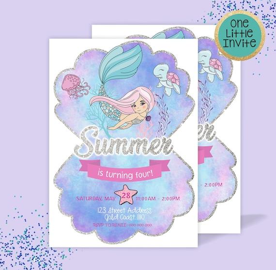 Mermaid Invitation Little Mermaid 1st Birthday Summer
