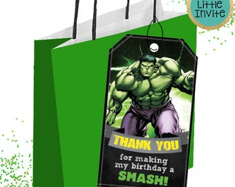 Hulk Thank you Card // Hulk Favor Tags // Hulk Printables // Hulk Party Tags  // Hulk Party // The incredible Hulk // Superheroes Party