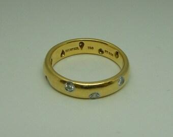 6c8c5a90c Tiffany & Co. Platinum and 18k gold diamond band ring Etoile eternity style  finger size 4