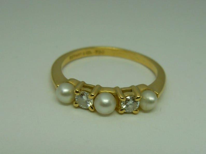 2b82b0d5b Tiffany & Co. pearl and diamond 18k yellow gold band ring | Etsy