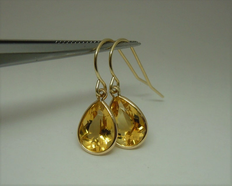 """Natural peridot sapphire gemstone wire wrap earrings 1.5/"""" solid 18k yellow gold"""