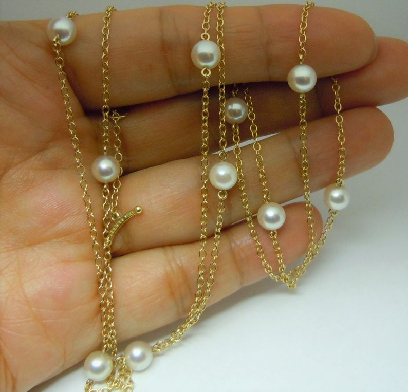 498add2cee817 Tiffany & Co. Elsa Peretti Pearls by the Yard chain necklace 18k yellow  gold 29.5